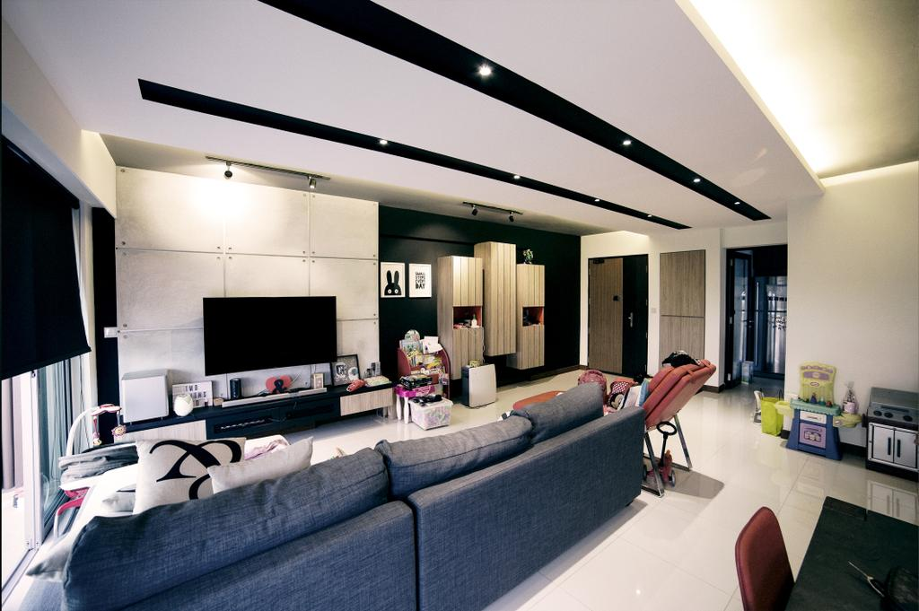 Scandinavian, HDB, Living Room, Upper Serangoon View (Block 476C), Interior Designer, NIJ Design Concept, Couch, Furniture, Indoors, Room, Lighting, Electronics, Entertainment Center, Home Theater