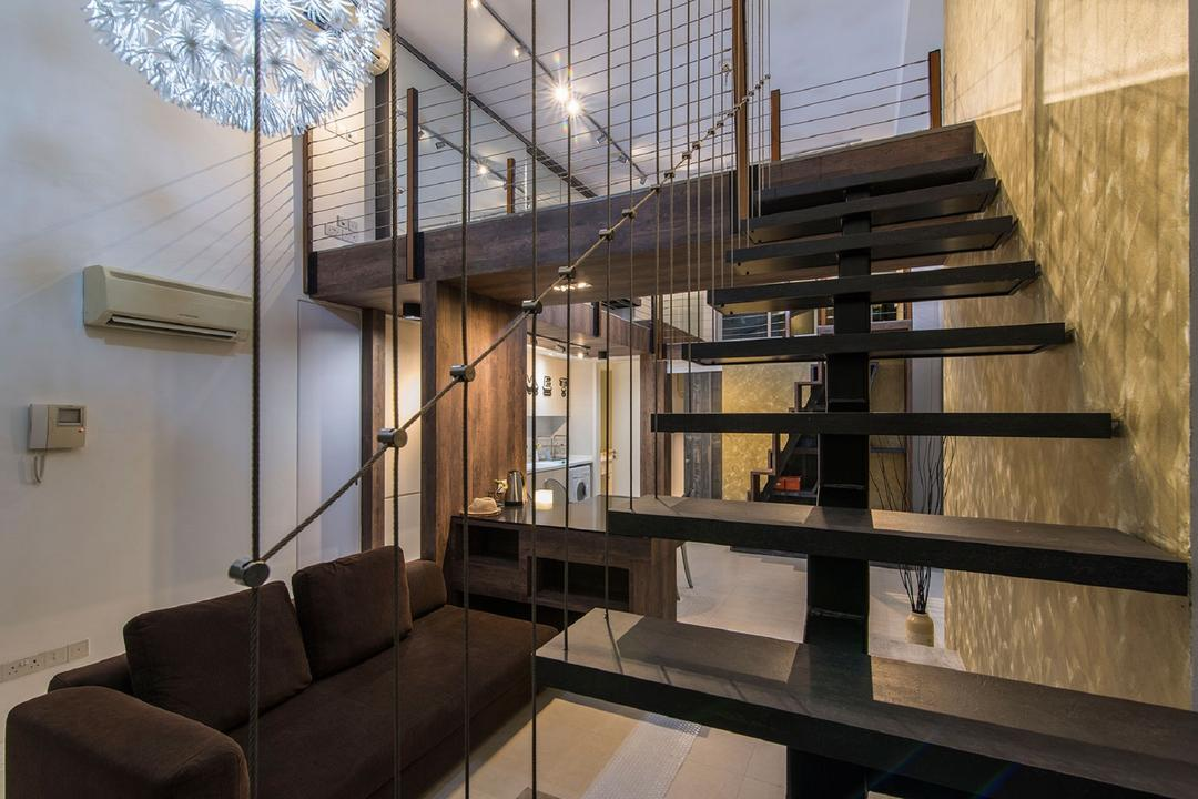 Southbank, Ace Space Design, Modern, Living Room, Landed, Stairs, Wooden Staircase, Wooden Stairs, Hanging Light, Pendant Light, Wallpaper, Couch, Furniture, HDB, Building, Housing, Indoors, Loft, Bench
