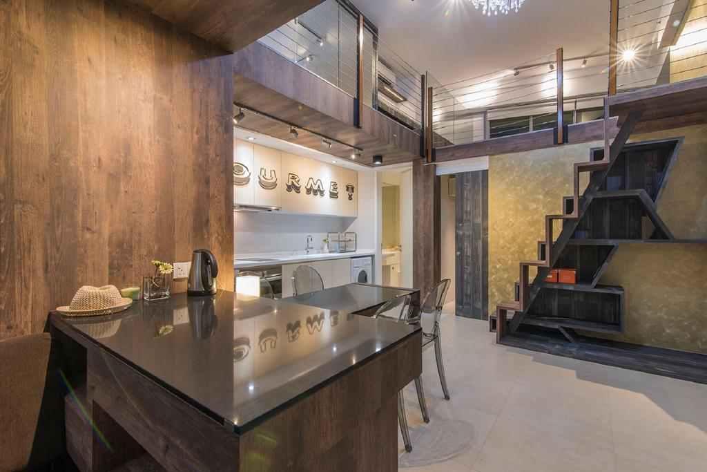 Modern, Landed, Dining Room, Southbank, Interior Designer, Ace Space Design, Glass Table Top, Wooden Dining Table, Wallpape, Wooden Backdrop, Stairs, Staircase, Indoors, Interior Design