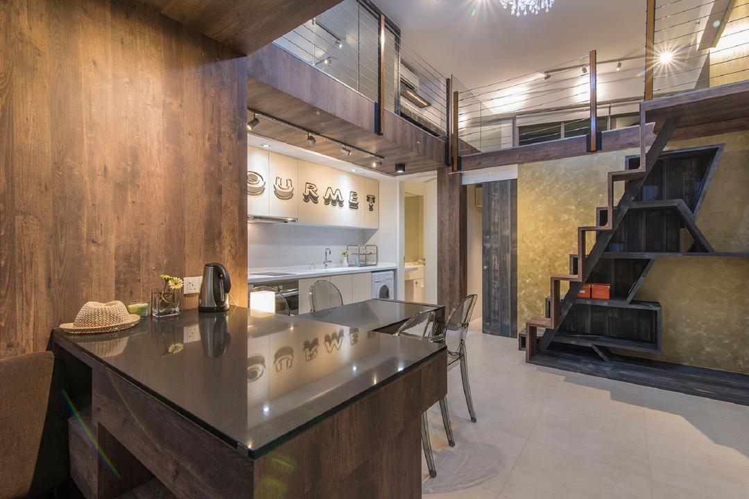 Southbank, Ace Space Design, Modern, Dining Room, Landed, Glass Table Top, Wooden Dining Table, Wallpape, Wooden Backdrop, Stairs, Staircase, Indoors, Interior Design