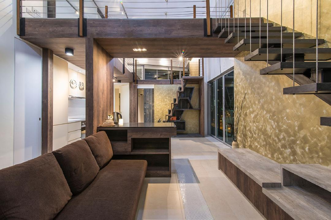 Southbank, Ace Space Design, Modern, Living Room, Landed, Brown Sofa, Wooden Stairs, Wooden Staircase, Wooden Tv Console, Ceiling Light, Wood Laminate, Couch, Furniture