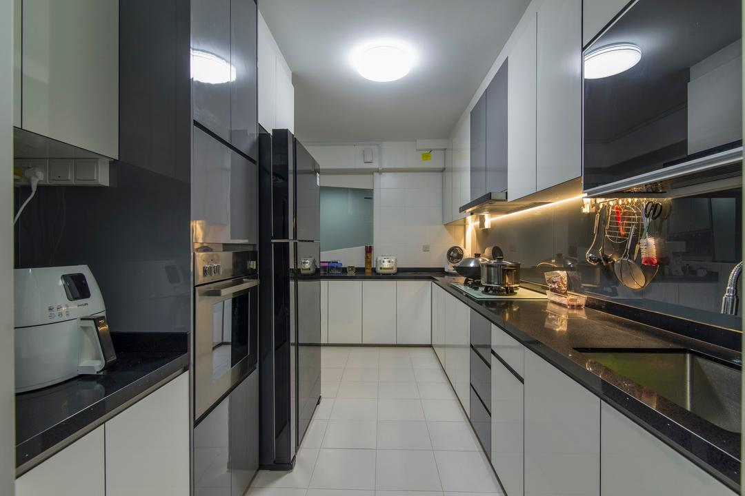 Tampines Central 7, Ace Space Design, Traditional, Kitchen, HDB, Concealed Lighting, Kitchen Tiles, Ceiling Light, Black Counter Top, Black Kitchen Top, Countertop, Cabinet, Wall Mounted Cabinet, Storage, Brewery, Building, Factory, Door, Sliding Door, Lighting