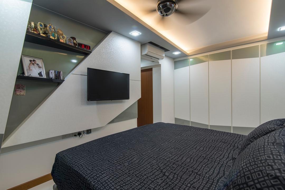 Tampines Central 7, Ace Space Design, Traditional, Bedroom, HDB, Display Shelf, Display Shelves, False Ceiling, Concealed Lighting, Concealed Light, Recessed Lighting, Storage, Wardrobe, Shelf
