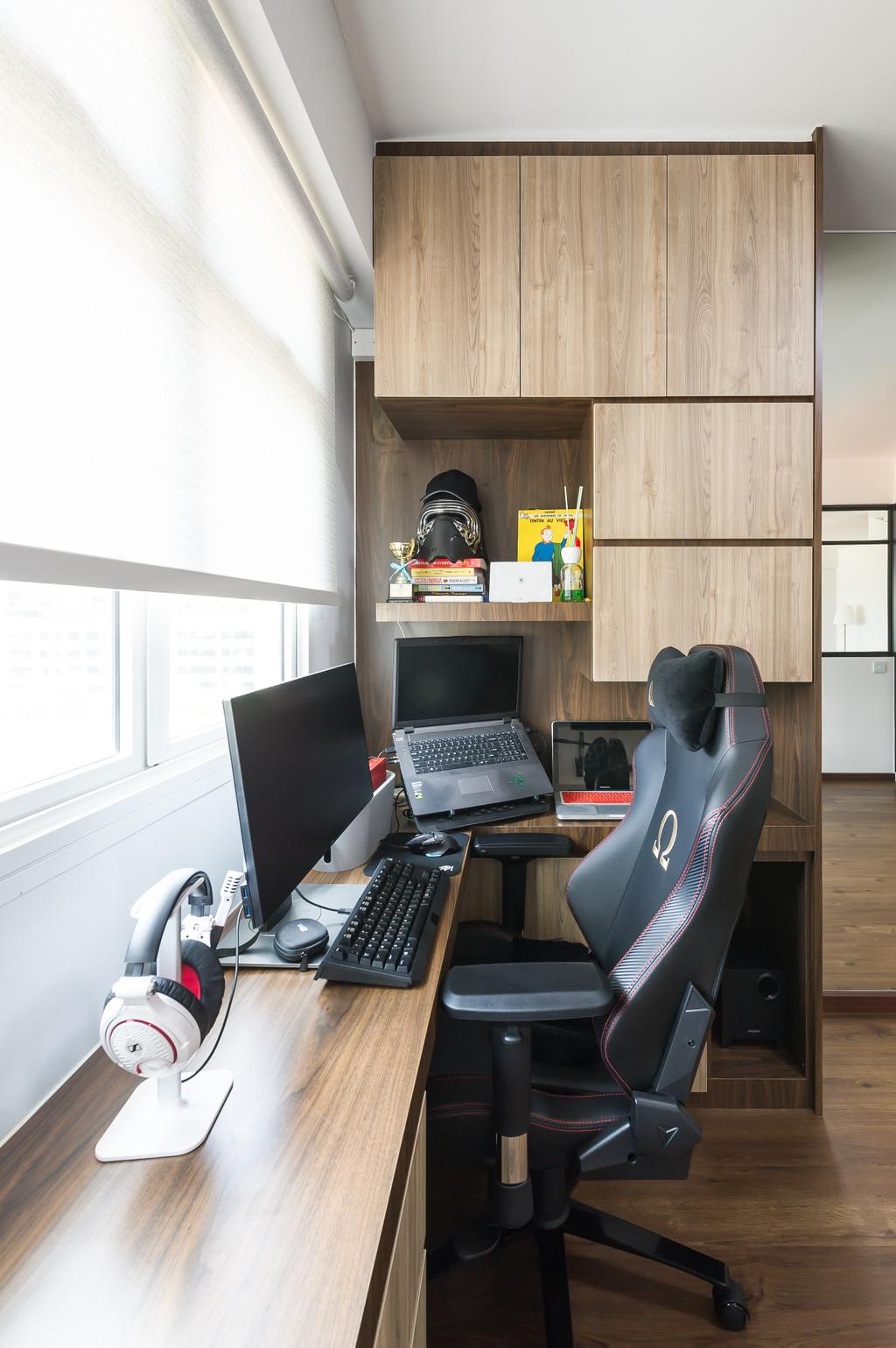 Scandinavian, HDB, Study, Sumang Walk (Block 217D), Interior Designer, ELPIS Interior Design, Electronics, Keyboard, Desk, Furniture, Table, Computer, Laptop, Pc