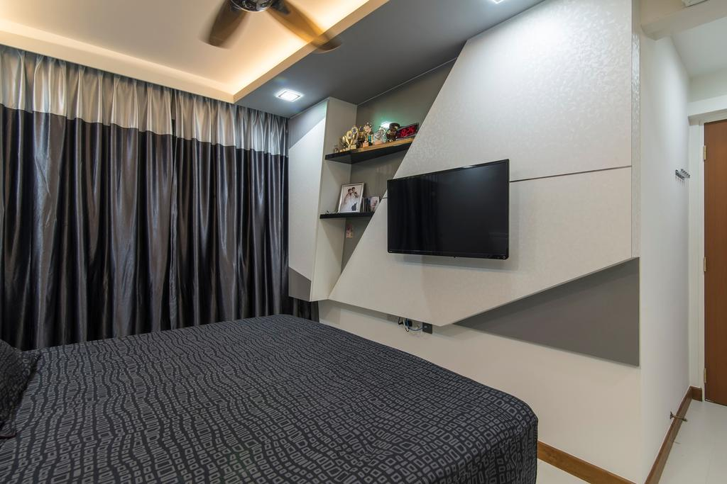 Traditional, HDB, Bedroom, Tampines Central 7, Interior Designer, Ace Space Design, Concealed Lighting, Concealed Light, Curtain, Feature Wall, Display Shelf, Display Shelves, False Ceiling, Banister, Handrail, Indoors, Interior Design, Room