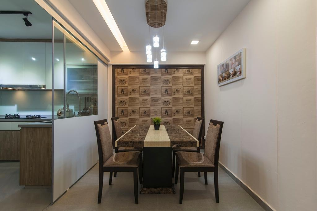 Traditional, HDB, Dining Room, Tampines Street 83, Interior Designer, Ace Space Design, Hanging Light, Pendant Light, Wallart, Wall Art, Concealed Lighting, Concealed Light, Glass Door, Feature Wall, Wood Feature Wall, Chair, Furniture, Dining Table, Table, Indoors, Interior Design, Room, Lighting