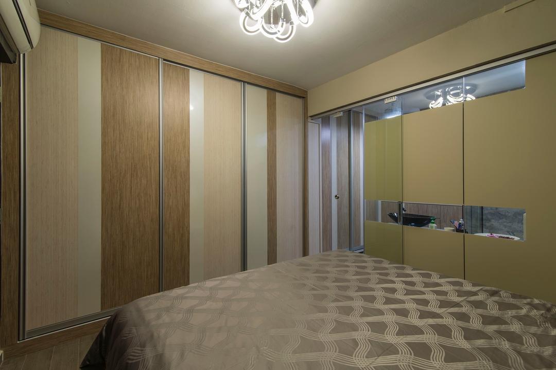 Tampines Street 83, Ace Space Design, Traditional, Bedroom, HDB, Wood Laminate, Wooden Cupboard, Storage, Hanging Light, Decorative Light, Wardrobe, Indoors, Interior Design, Room