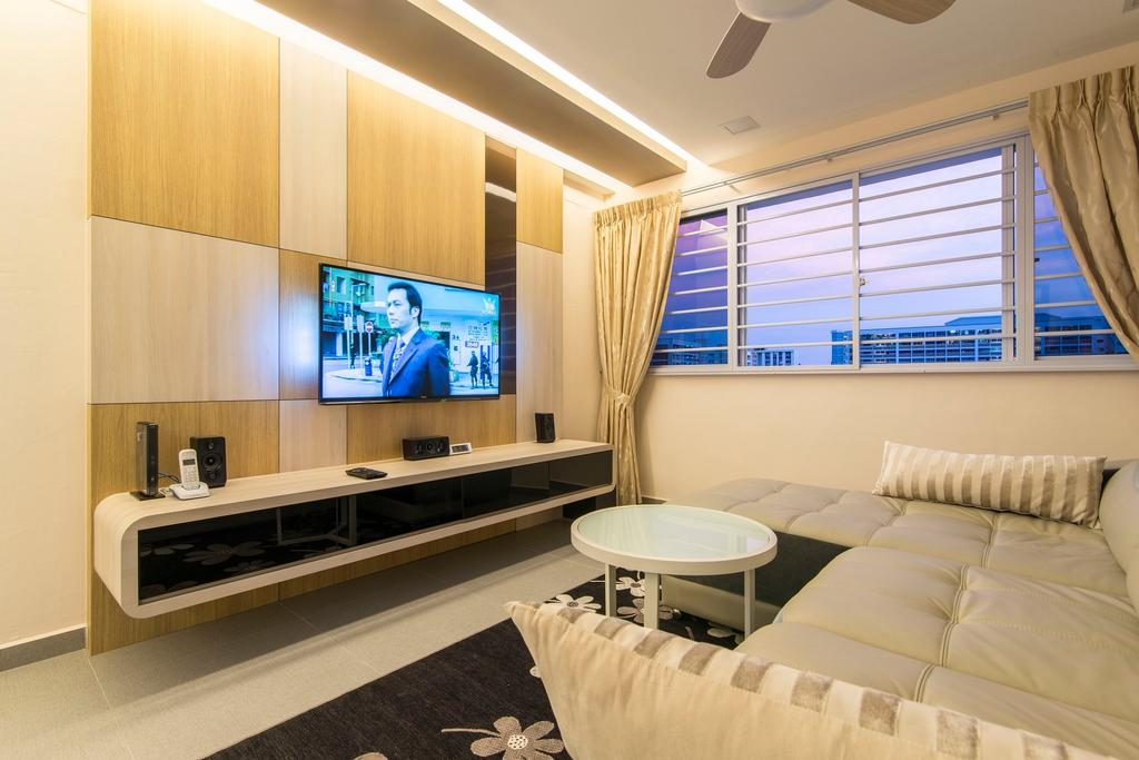 Traditional, HDB, Living Room, Tampines Street 83, Interior Designer, Ace Space Design, Curtain, False Ceiling, Concealed Light, Concealed Lighting, Tv Console, Coffee Table, Round Coffee Table, Leather Sofa, Cream Sofa, Wooden Feature Wall, Indoors, Interior Design, Room