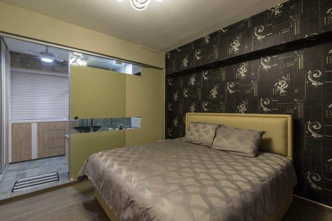 Tampines Street 83, Ace Space Design, Traditional, Bedroom, HDB, Wallpaper, Black Wallpaper, Cushioned Headboard, Cushion Headboard, Wooden Flooring, Gold Bedsheet, Bed, Furniture, Indoors, Interior Design, Room