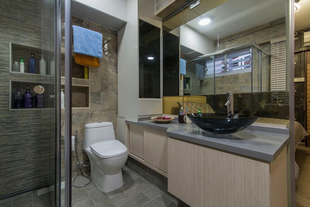 Tampines Street 83, Ace Space Design, Traditional, Bathroom, HDB, Wood Laminate, Bathroom Tiles, Wall Storage, Vessel Sink, Black Vessel Sink, Blinds, Vanity, Grey Table Top, Gray Table Top, Toilet, Sink