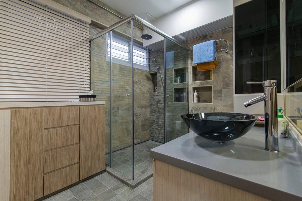 Traditional, HDB, Bathroom, Tampines Street 83, Interior Designer, Ace Space Design, Vessel Sink, Black Vessel Sink, Wood Laminate, Bathroom Tiles, Glass Door, Glass Shower Door, Blinds, Bowl, Building, Housing, Indoors