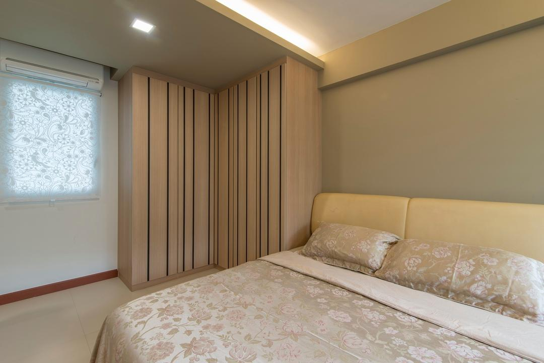 Yishun Avenue 1, Ace Space Design, Traditional, Bedroom, HDB, False Ceiling, Recessed Lighting, Cove Lighting, Cove Light, Cushioned Headboard, Cushion Headboard, Concealed Lighting, Concealed Light, Indoors, Interior Design, Room, Bed, Furniture