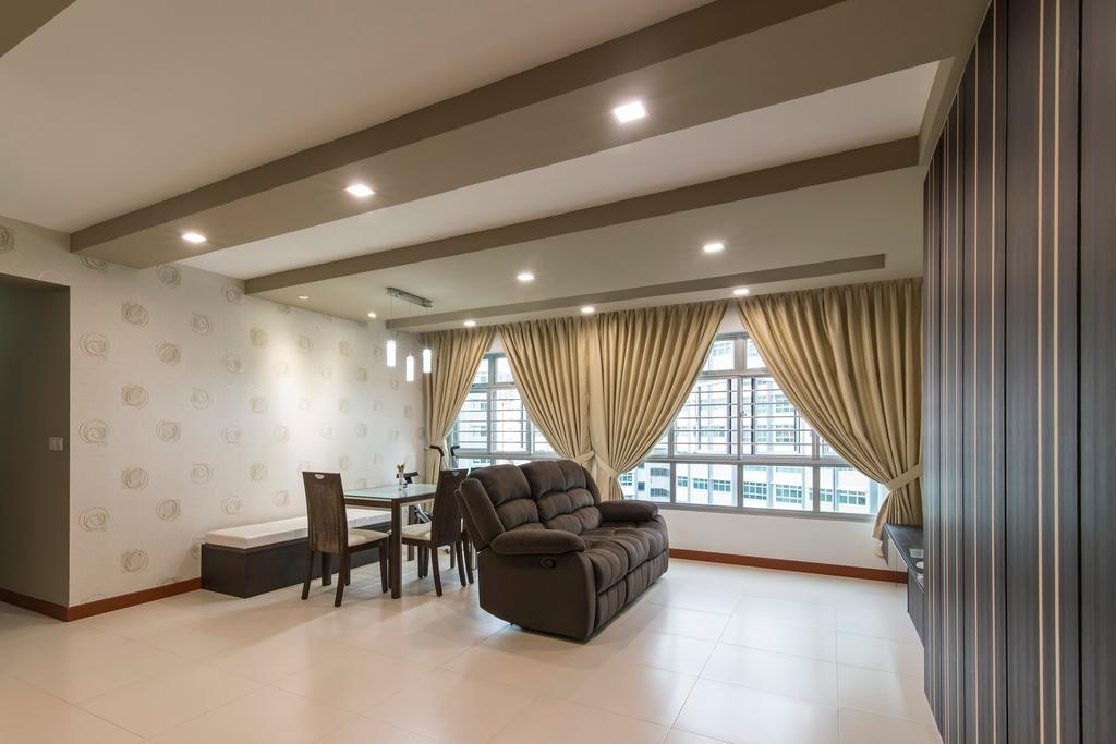 Traditional, HDB, Living Room, Yishun Avenue 1, Interior Designer, Ace Space Design, Wallpaper, Curtain, Leather Sofa, Black Sofa, Recessed Lighting, Recessed Light, False Ceiling, Furniture