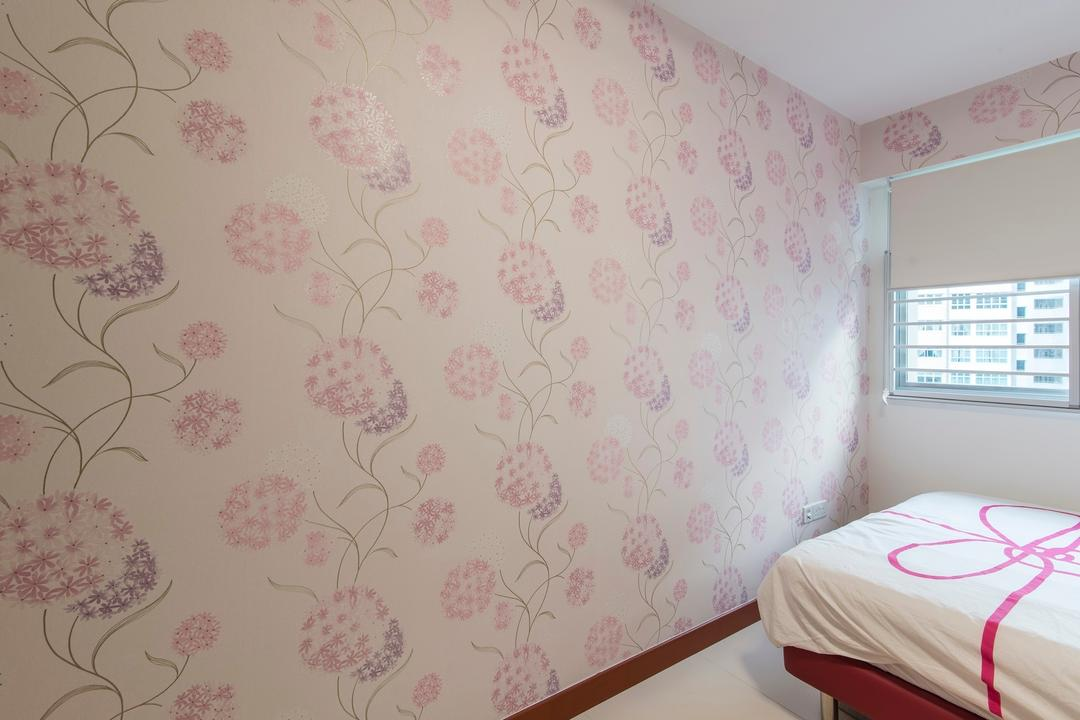 Yishun Avenue 1, Ace Space Design, Traditional, Bedroom, HDB, Wallpaper, Floral Wallpaper, Pink Wallpaper, Blinds