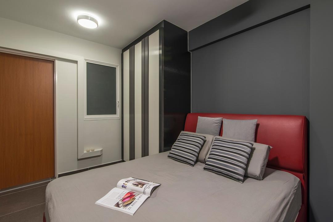 Yishun Avenue 9, Ace Space Design, Traditional, Bedroom, HDB, Monochrome Wardrobe, Monochrome Cupboard, Cushion Headboard, Red Headboard, Striped Pillows, Striped Cushions, Indoors, Room, Bed, Furniture