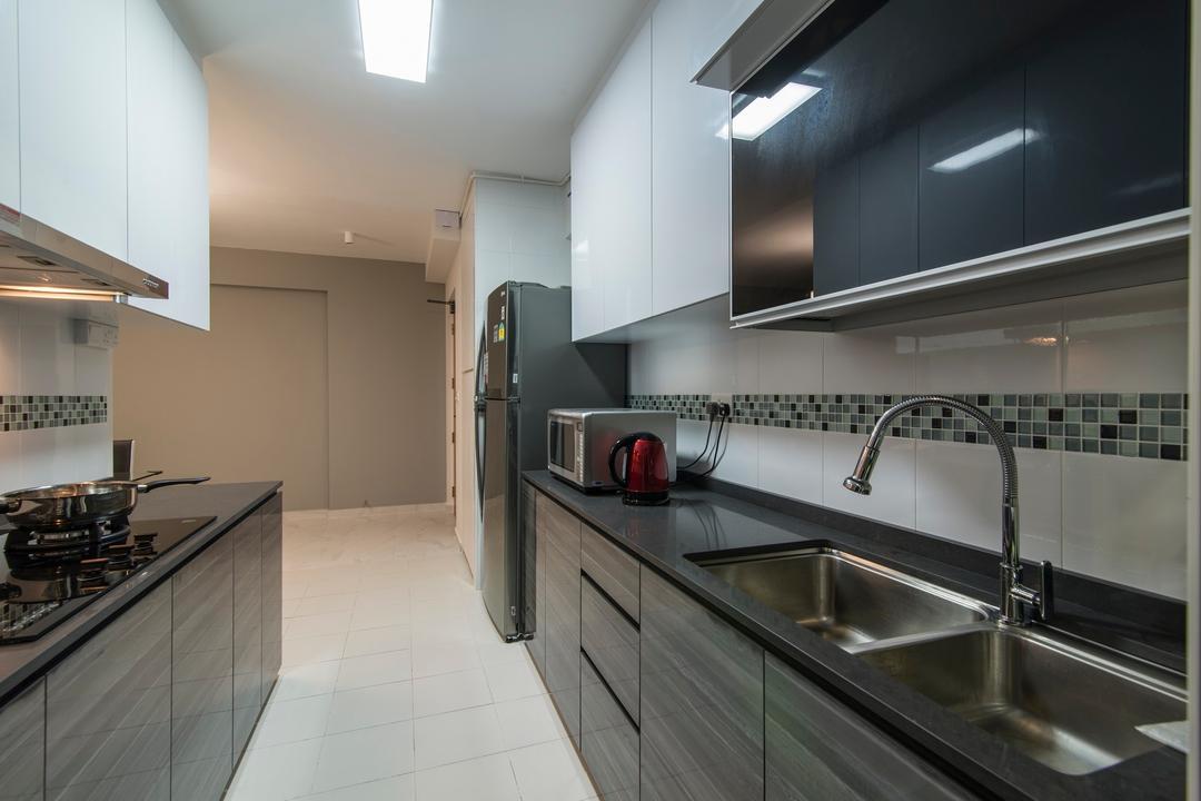 Yishun Avenue 9, Ace Space Design, Traditional, Kitchen, HDB, Mosaic Tiles, Kitchen Tiles, Black Kitchen Counter Top, Kitchen Counter Top, Kitchen Cabinet, Laminate