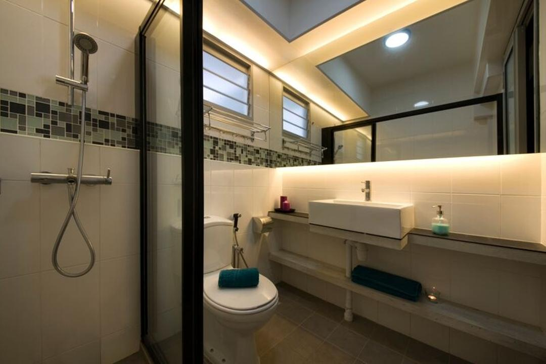Anchorvale Road (Block 327C), Aart Boxx Interior, Industrial, Bathroom, HDB, Conceal Lights, Concealed Lighting, Mirror Cabinet, White Sink, White Basin, Wall Shelf, Mosaic Tile, Indoors, Interior Design, Room