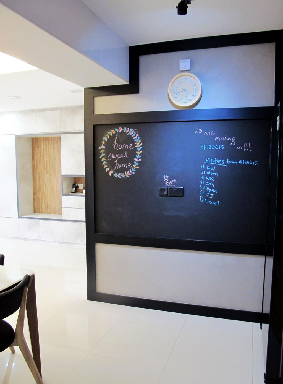 Minimalistic, HDB, Dining Room, Punggol Waterway, Interior Designer, Colourbox Interior, Clock, Wall Clock, Chalkboard, Chalk Board, White Flooring