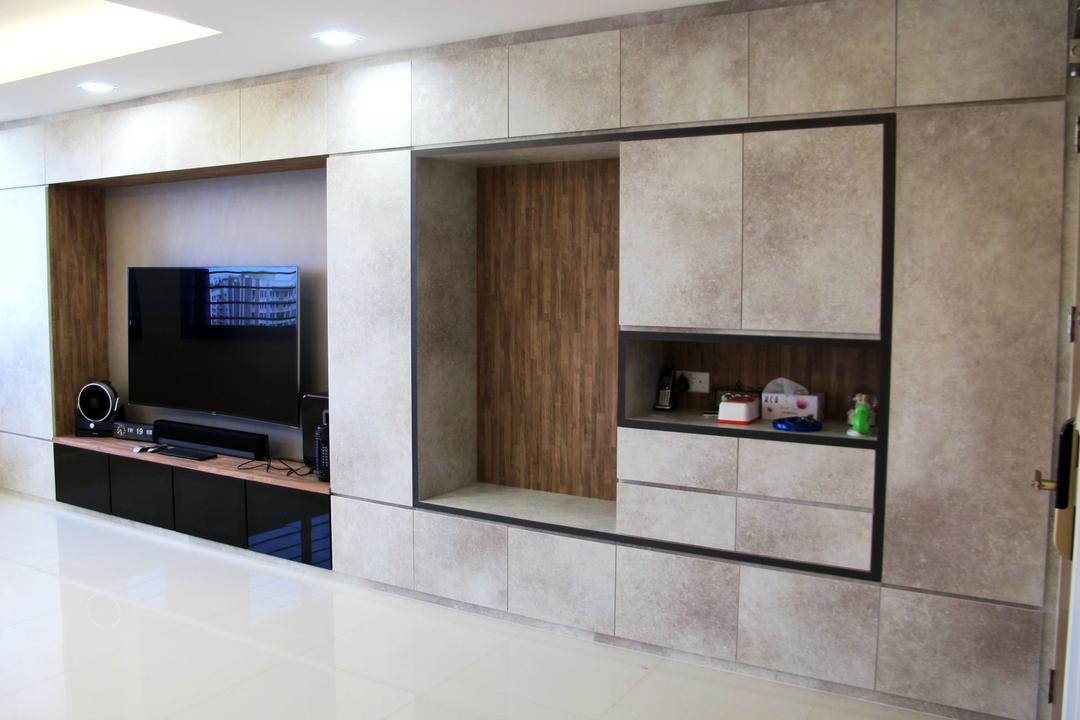 Punggol Waterway, Colourbox Interior, Minimalistic, Living Room, HDB, Recessed Lighting, Conceal Lights, White Flooring, Feature Wall, False Ceiling, Wall Shelf, Flatscreen Tv, Tv Console