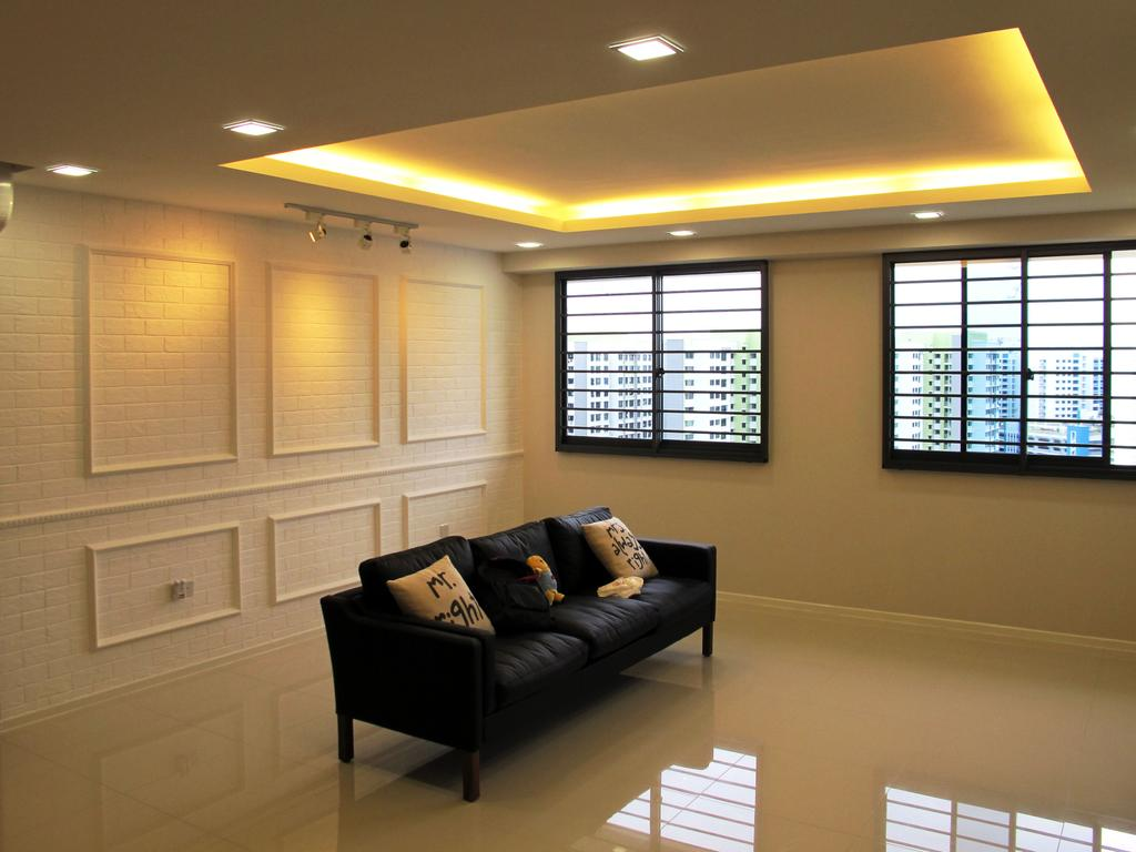 Minimalistic, HDB, Living Room, Punggol Waterway, Interior Designer, Colourbox Interior, Conceal Lights, Concealed Lighting, Concealed Lights, White Flooring, White Wall, Black Frame Windows, Recessed Lights, White Brick Wall, Sofa, Cushions, Couch, Furniture, Architecture, Building, Skylight, Window, Basement, Indoors, Room