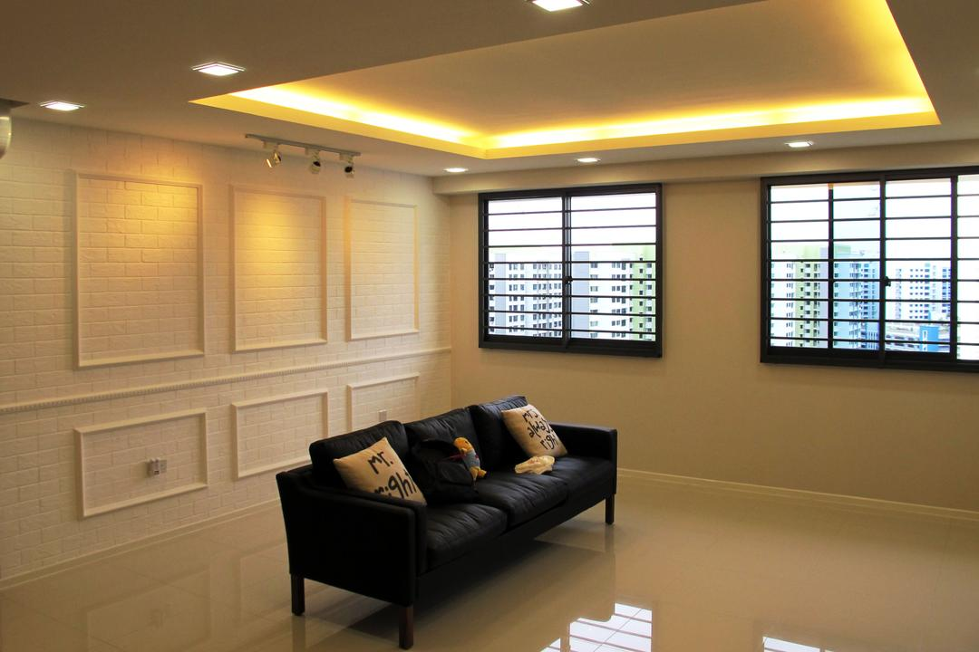 Punggol Waterway, Colourbox Interior, Minimalistic, Living Room, HDB, Conceal Lights, Concealed Lighting, Concealed Lights, White Flooring, White Wall, Black Frame Windows, Recessed Lights, White Brick Wall, Sofa, Cushions, Couch, Furniture, Architecture, Building, Skylight, Window, Basement, Indoors, Room