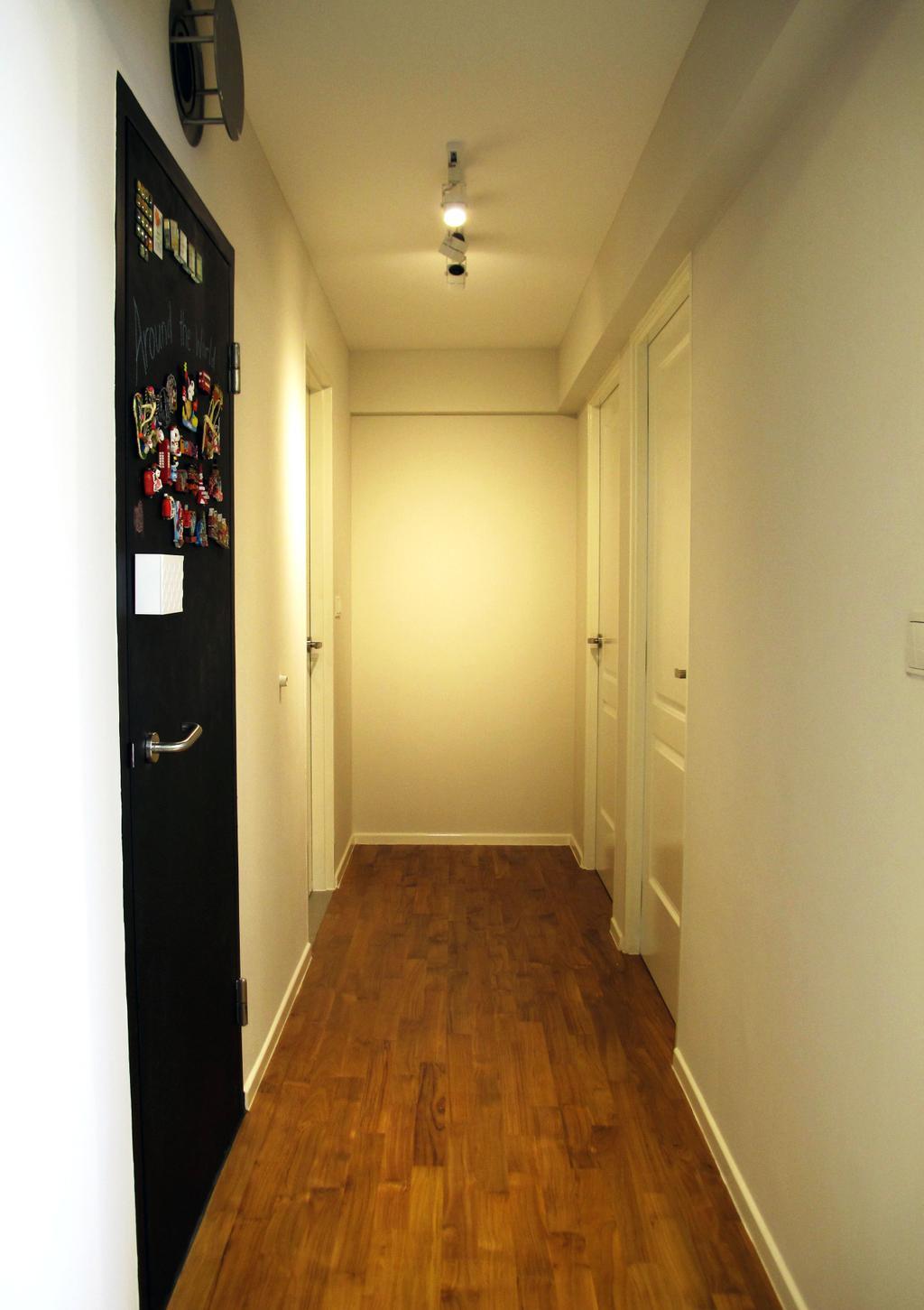 Minimalistic, HDB, Punggol Waterway, Interior Designer, Colourbox Interior, Corridor, Wooden Flooring, Laminate Wood, Wooden Laminate, Laminate Flooring, White Wall, Track Lights