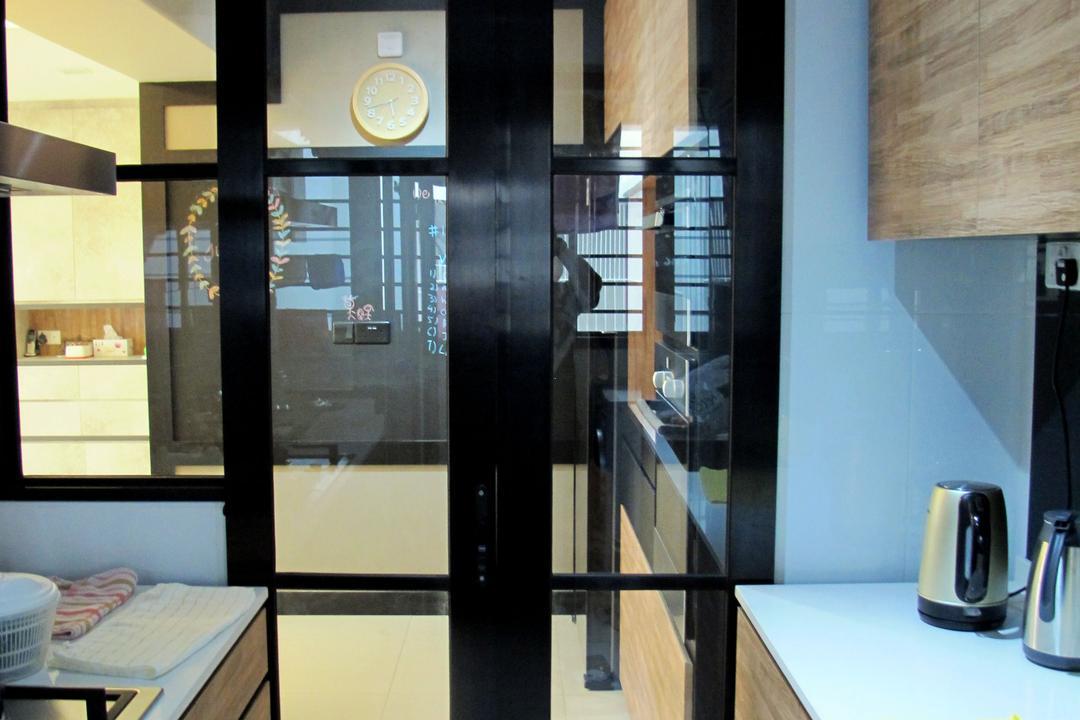 Punggol Waterway, Colourbox Interior, Minimalistic, Kitchen, HDB, Black Frame Doors, Glass Doors, Wooden Cabinet, Wooden Laminate, Laminated Cabinets, White Kitchen Top, Clock, Door, Sliding Door, Indoors, Interior Design