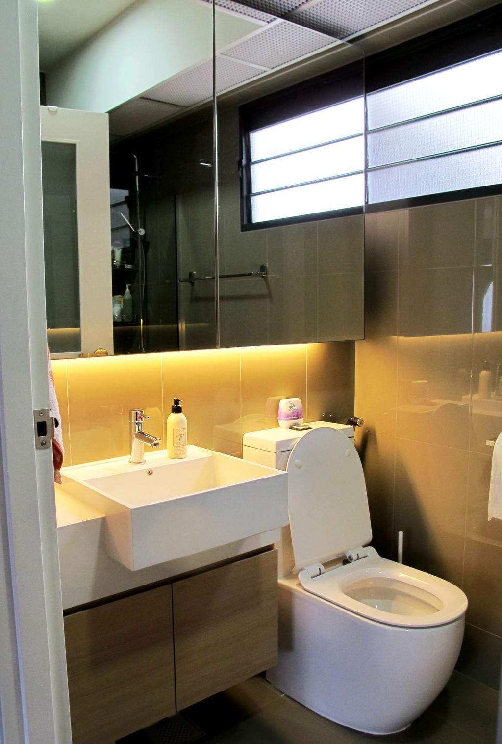 Minimalistic, HDB, Bathroom, Punggol Waterway, Interior Designer, Colourbox Interior, Mirror Cabinet, Conceal Lighting, Mirror, Cabinet, Wooden Cabinet, White Sink, White Sink Top, Sink, Indoors, Interior Design