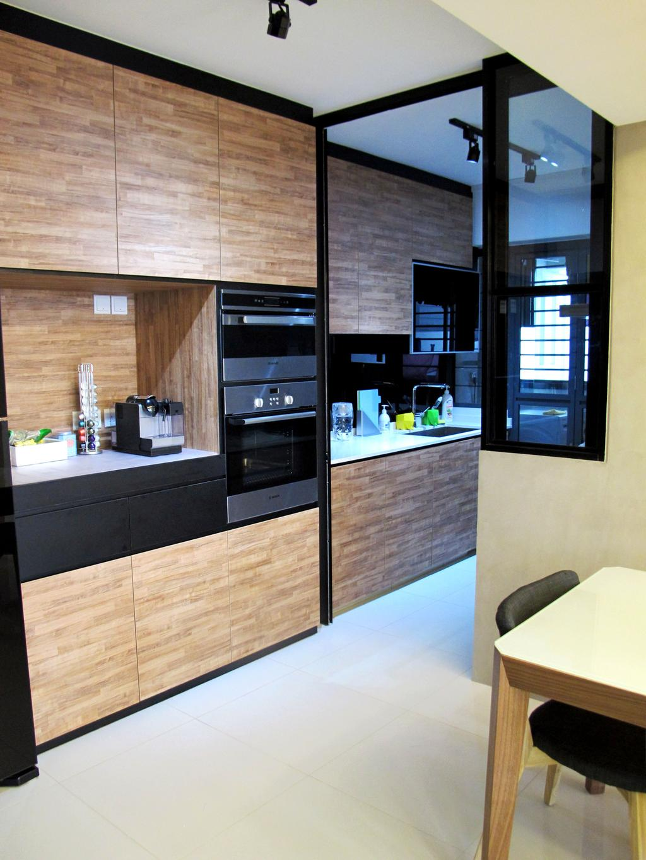 Minimalistic, HDB, Kitchen, Punggol Waterway, Interior Designer, Colourbox Interior, Brown Cabinet, Wooden Cabinet, Wooden Laminate, White Flooring, Wooden Backsplash, Indoors, Interior Design, Room, Appliance, Electrical Device, Oven
