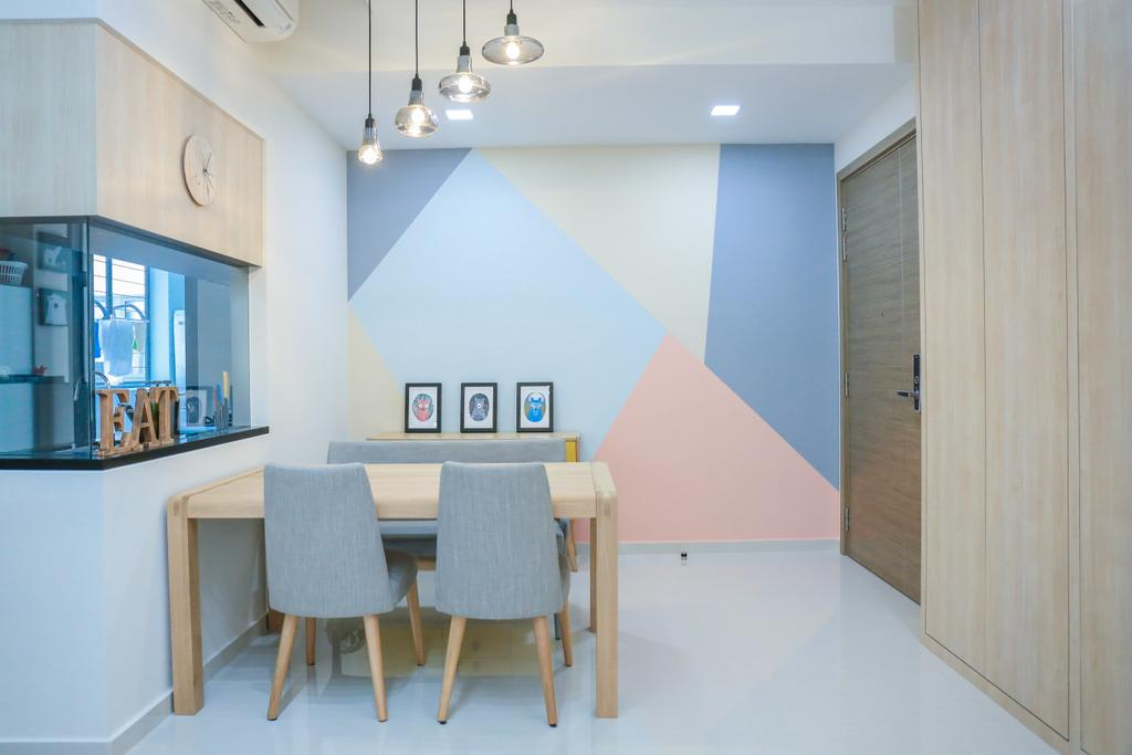 Minimalistic, HDB, Dining Room, Pasir Ris Grove, The Palette (Block 105), Interior Designer, Forefront Interior, Dining Table, Furniture, Table, Chair, Indoors, Interior Design, Room