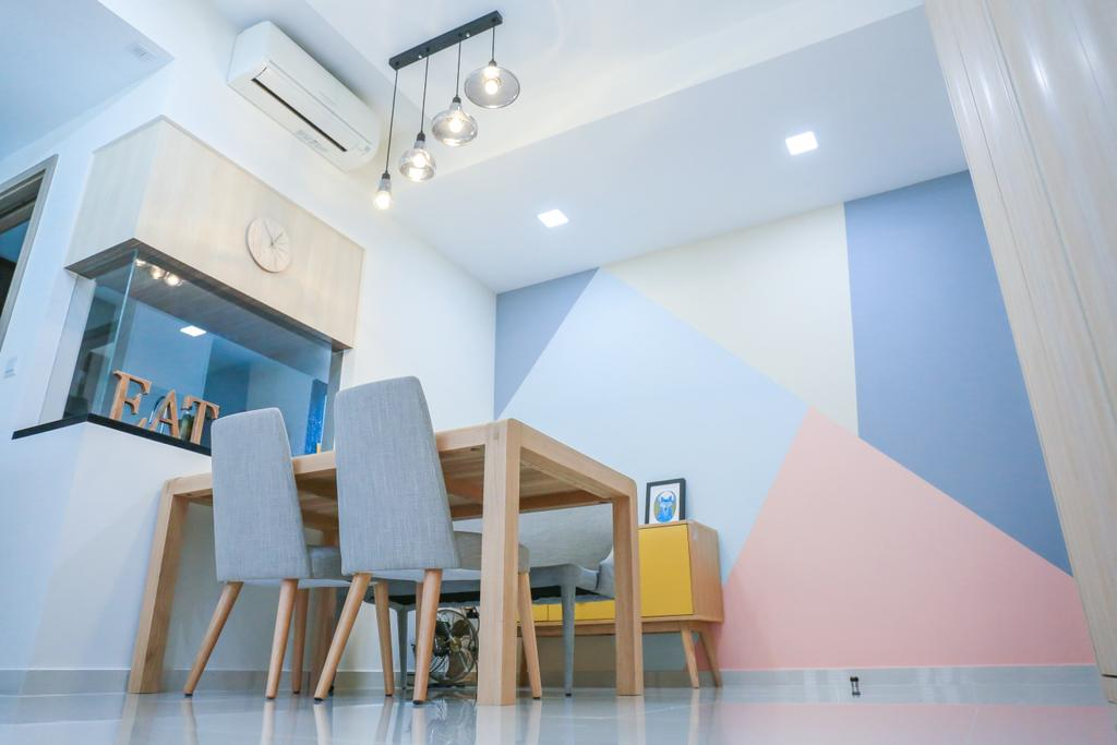 Minimalist, HDB, Dining Room, Pasir Ris Grove, The Palette (Block 105), Interior Designer, Forefront Interior, Chair, Furniture, Indoors, Interior Design, Dining Table, Table, Room, Bar Stool