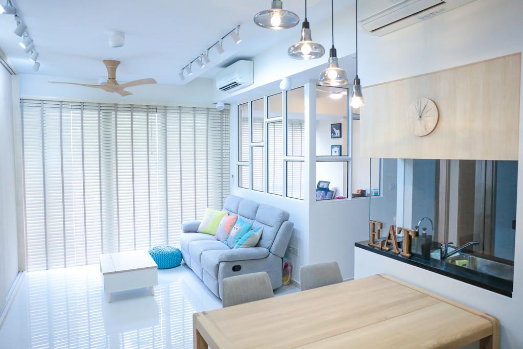 Minimalistic, HDB, Living Room, Pasir Ris Grove, The Palette (Block 105), Interior Designer, Forefront Interior, Bathroom, Indoors, Interior Design, Room, Dining Room, Nursery