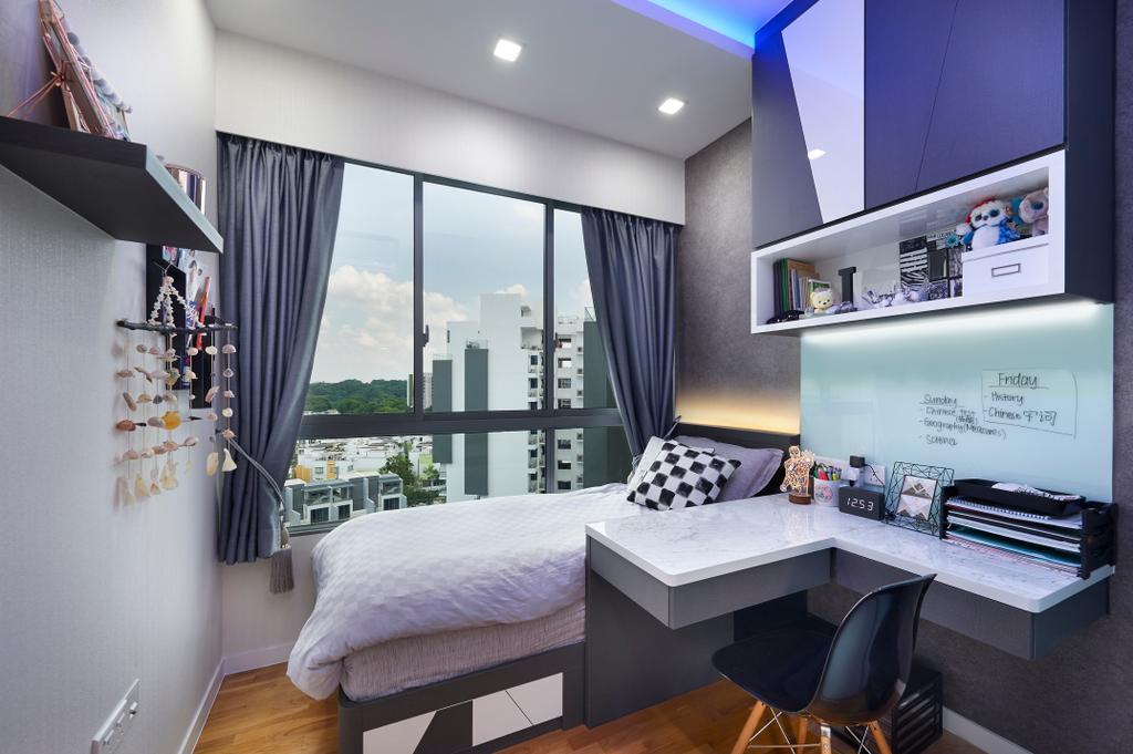 Modern, HDB, Bedroom, Skies Miltonia, Interior Designer, U-Home Interior Design, Indoors, Interior Design, Room, Chair, Furniture