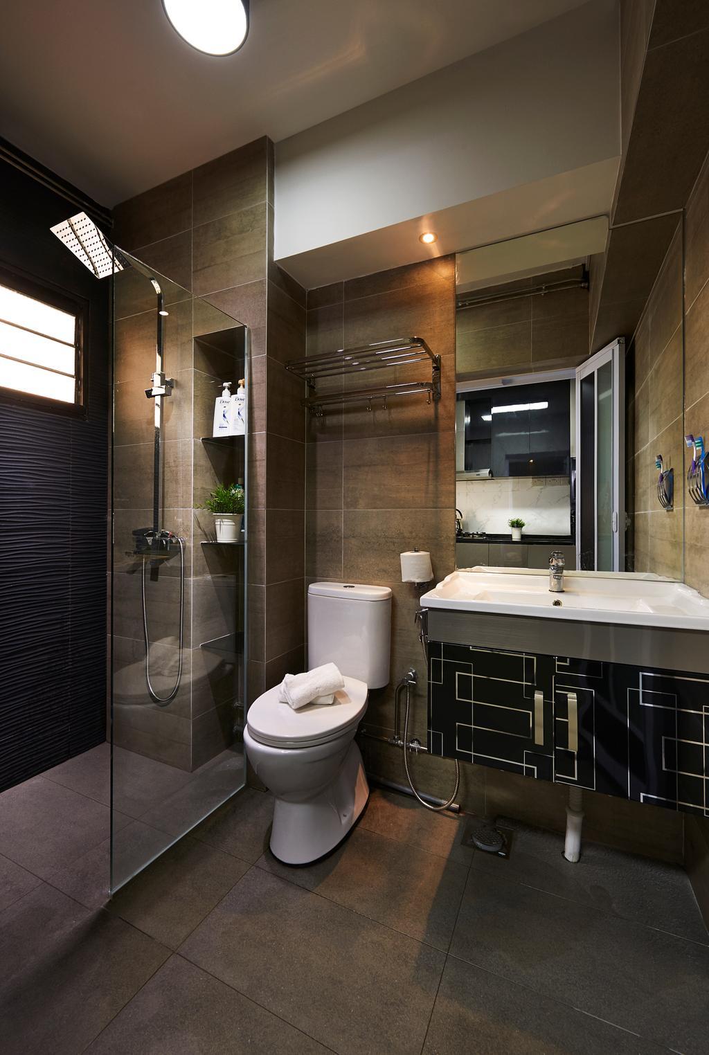 Contemporary, HDB, Bathroom, Rivervale Gateway, Interior Designer, U-Home Interior Design, Toilet, Indoors, Interior Design, Room, Door, Sliding Door