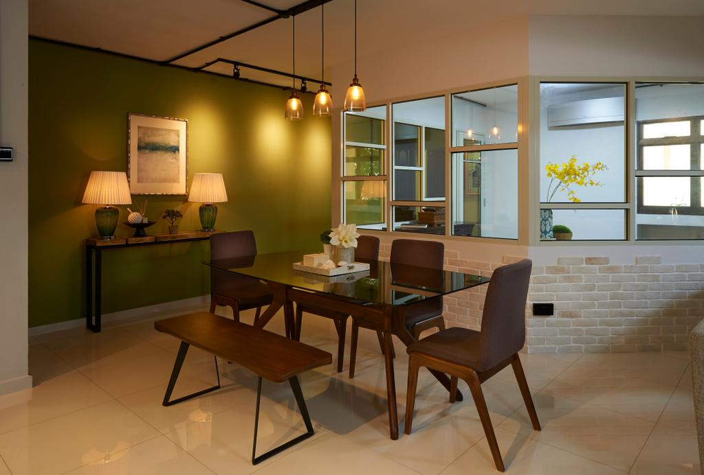 Scandinavian, HDB, Dining Room, Woodlands Ring Road, Interior Designer, U-Home Interior Design, Furniture, Chair, Couch, Indoors, Interior Design, Room, Lamp