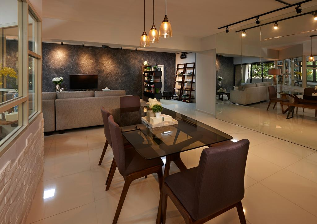 Scandinavian, HDB, Dining Room, Woodlands Ring Road, Interior Designer, U-Home Interior Design, Couch, Furniture, Chair, Indoors, Interior Design, Room, Dining Table, Table