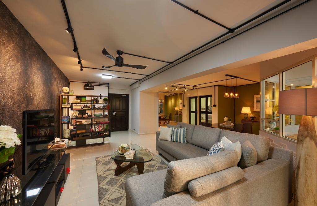 Scandinavian, HDB, Living Room, Woodlands Ring Road, Interior Designer, U-Home Interior Design, Couch, Furniture, Appliance, Electrical Device, Oven, Indoors, Interior Design