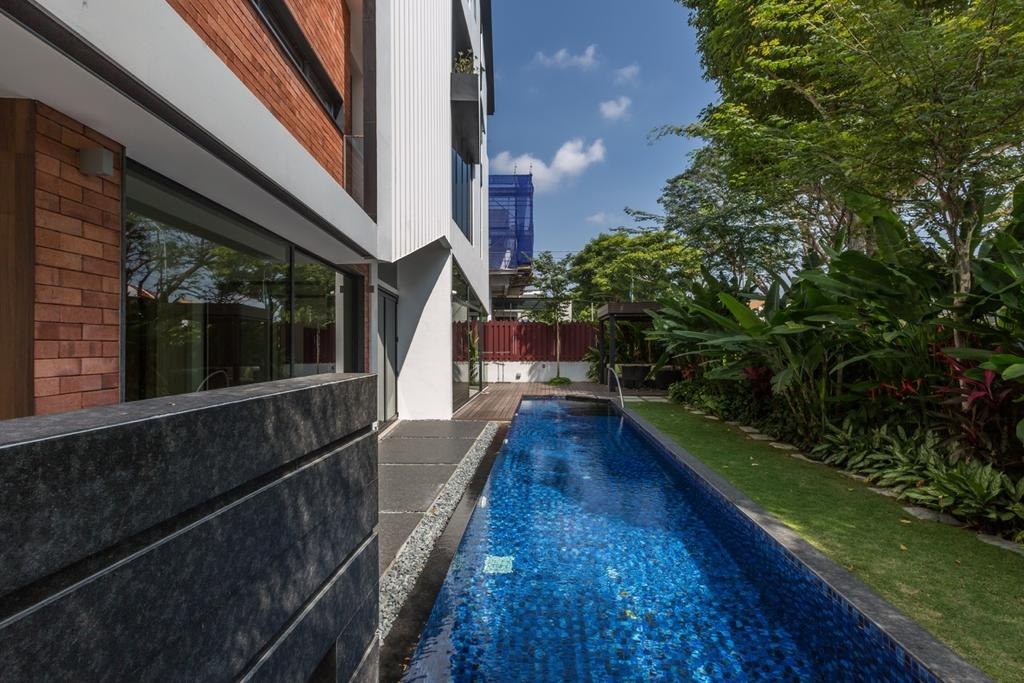 Contemporary, Landed, Minaret Walk, Architect, EZRA Architects, Indoor Pool, Private Pool, House Pool, Grey Wall, Gray Wall, Brick Wall, Exterior View, Flora, Jar, Plant, Potted Plant, Pottery, Vase, Brick