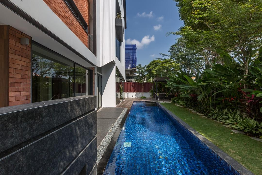Minaret Walk, EZRA Architects, Contemporary, Landed, Indoor Pool, Private Pool, House Pool, Grey Wall, Gray Wall, Brick Wall, Exterior View, Flora, Jar, Plant, Potted Plant, Pottery, Vase, Brick