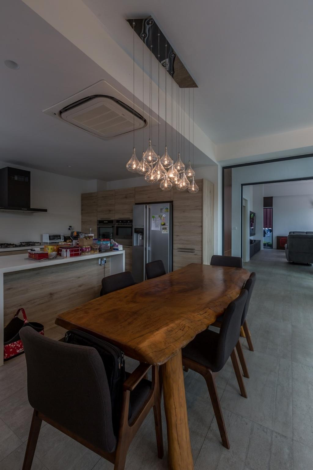 Contemporary, Landed, Dining Room, Minaret Walk, Architect, EZRA Architects, Hanging Lights, Wooden Table, Brown Table, Dining Table, Black Chairs, Cushioned Chairs, Wooden Laminate, Couch, Furniture, Plywood, Wood, Chandelier, Lamp, Indoors, Interior Design, Room, Chair