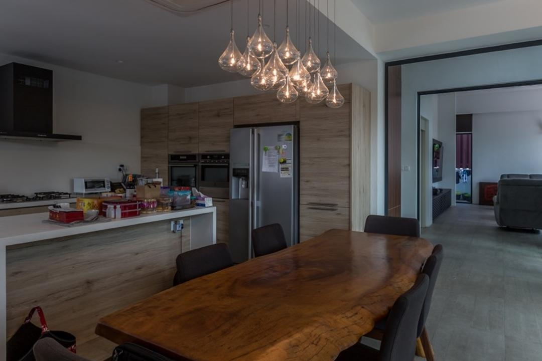 Minaret Walk, EZRA Architects, Contemporary, Dining Room, Landed, Hanging Lights, Wooden Table, Brown Table, Dining Table, Black Chairs, Cushioned Chairs, Wooden Laminate, Couch, Furniture, Plywood, Wood, Chandelier, Lamp, Indoors, Interior Design, Room, Chair