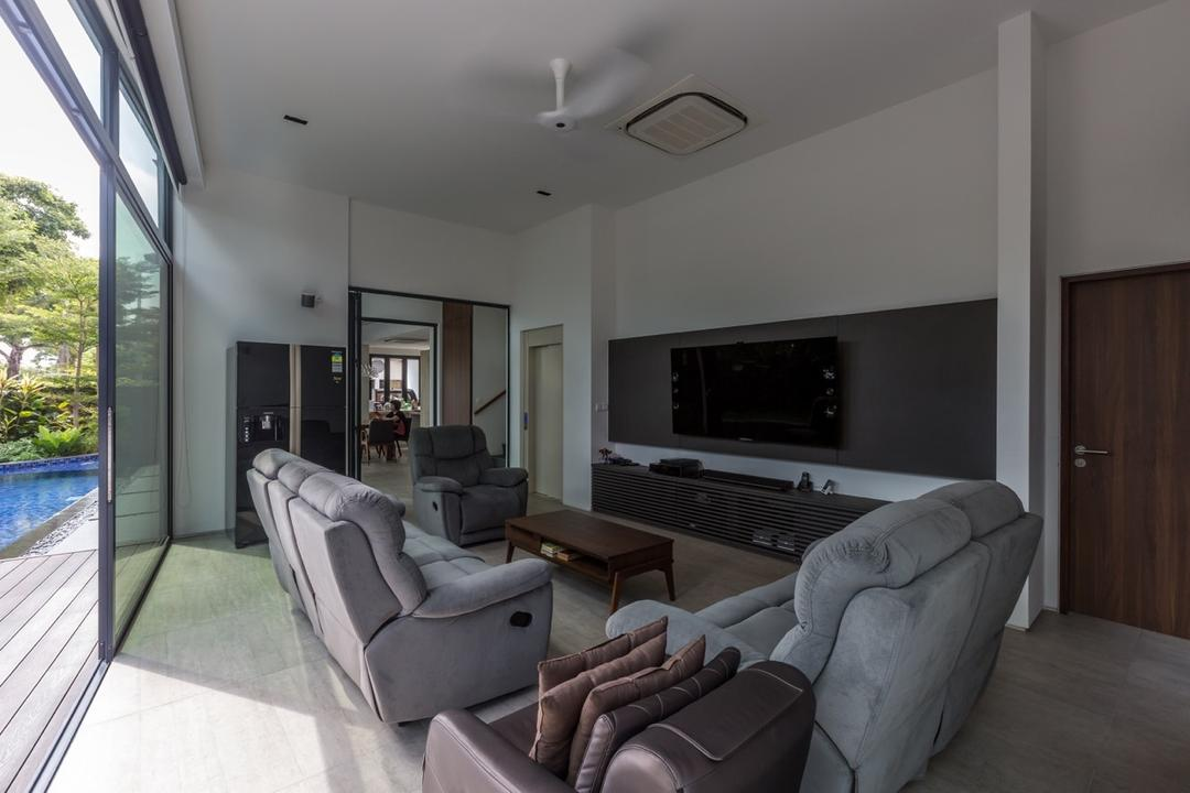 Minaret Walk, EZRA Architects, Contemporary, Living Room, Landed, White Ceiling, White Wall, Glass Door, Grey Sofa, Gray Sofa, Flatscreen Tv, Wall Mount Tv, Couch, Furniture, Electronics, Entertainment Center, Home Theater, Indoors, Room, Molding