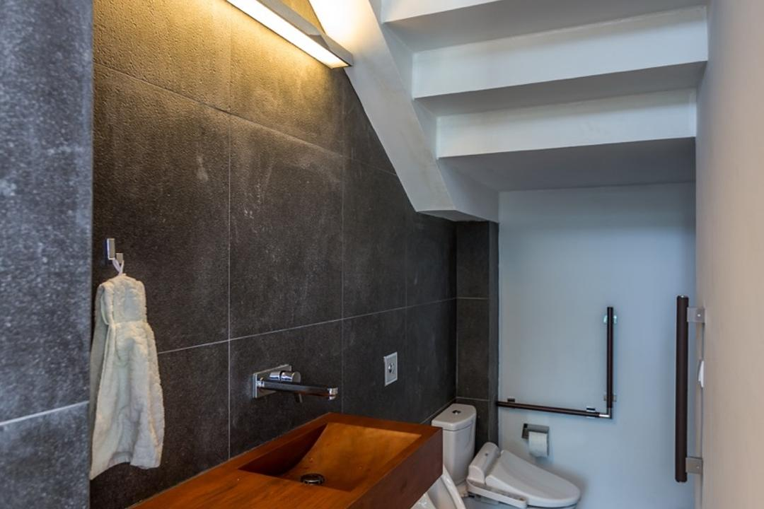 Minaret Walk, EZRA Architects, Contemporary, Bathroom, Landed, White Ceiling, Slanted Ceiling, Wooden Flooring, Laminated Flooring, Wall Mount Sink, Wall Lighting, Wooden Sink, Wall Sink, Grey Wall, Concrete Wall, Gray Wall, Flooring