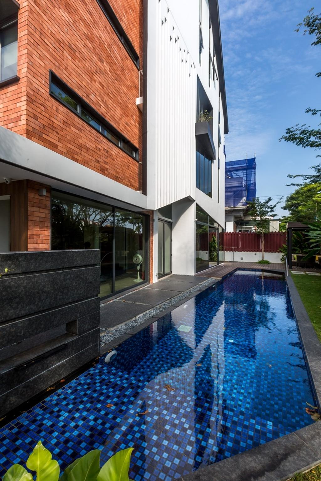 Contemporary, Landed, Minaret Walk, Architect, EZRA Architects, Indoor Pool, Private Pool, House Pool, Exterior, Brick Wall, Pool, Water