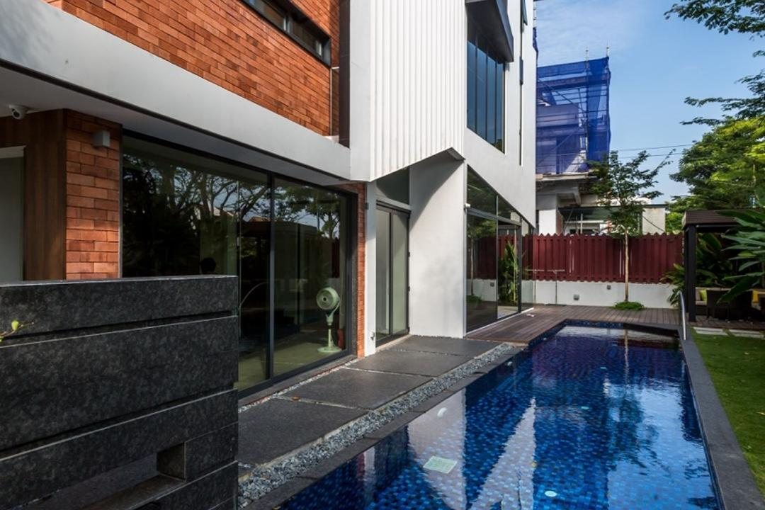 Minaret Walk, EZRA Architects, Contemporary, Landed, Indoor Pool, Private Pool, House Pool, Exterior, Brick Wall, Pool, Water