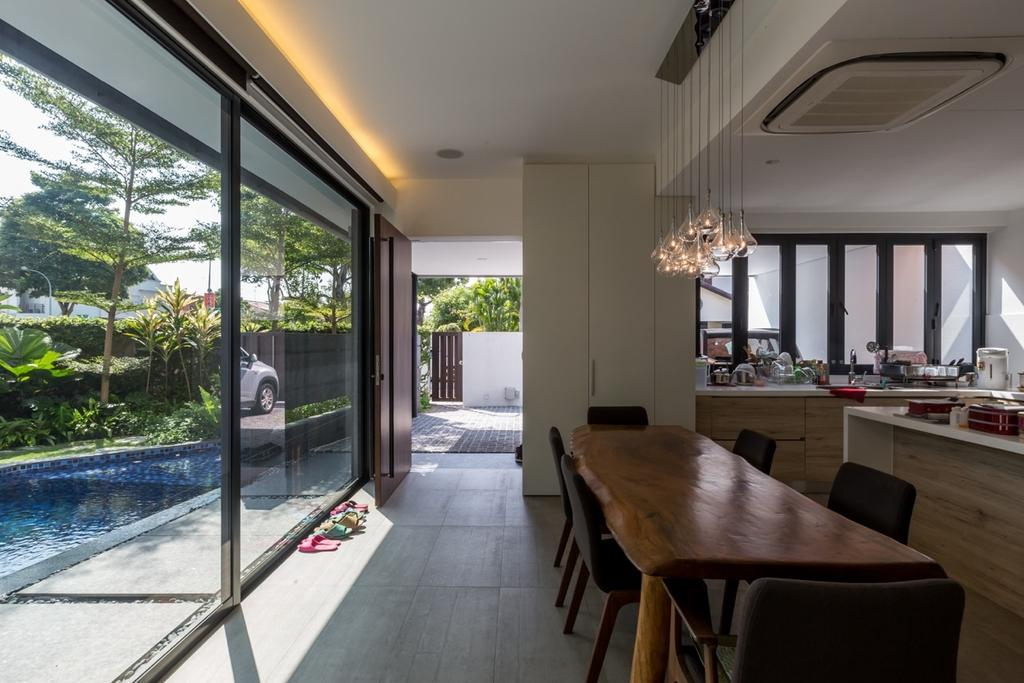 Contemporary, Landed, Dining Room, Minaret Walk, Architect, EZRA Architects, Concealed Lighting, Conceal Lights, Glass Doors, Pendant Lights, Hanging Lights, Wooden Table, Dining Table, Black Chairs, Chair, Furniture, Plywood, Wood, Restaurant, Indoors, Interior Design, Kitchen, Room