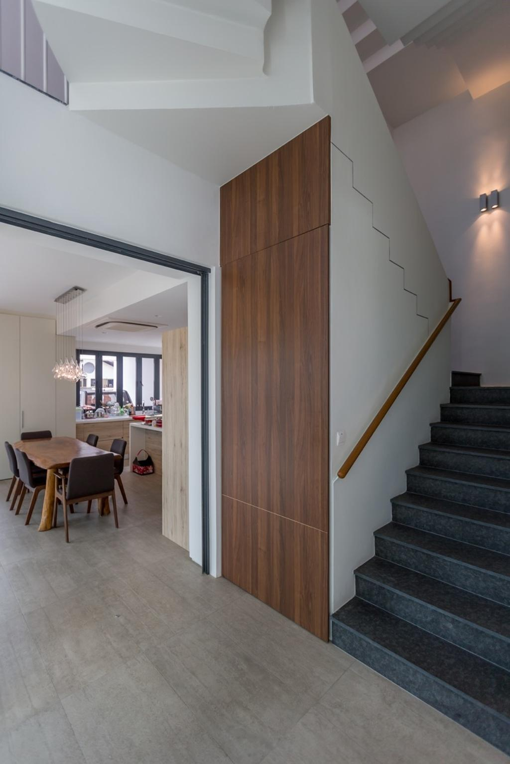 Contemporary, Landed, Minaret Walk, Architect, EZRA Architects, Wooden Wall, Glass Railing, Wall Lighting, Wall Light, Wooden Table, Dining Table, Black Chairs, Furniture, Table, Banister, Handrail, Staircase