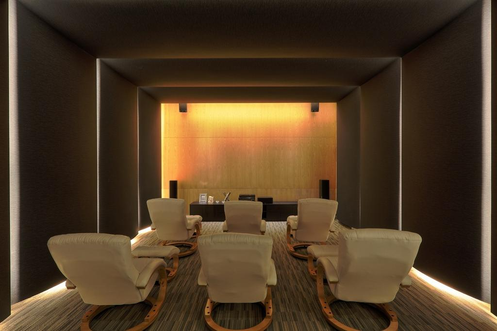 Traditional, Landed, Nanhu Golf Villa, Architect, EZRA Architects, Theatre, Armchair, Cosy Armchair, Concealed Lighting, Concealed Light, Chair, Furniture, Conference Room, Indoors, Meeting Room, Room, Dining Room, Interior Design