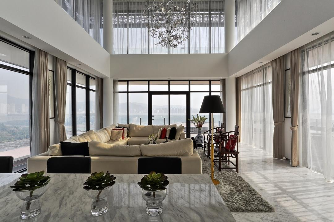 Nanhu Golf Villa, EZRA Architects, Traditional, Living Room, Landed, Chandelier, Hanging Light, Cream Sofa, Full Length Glass Windows, Standing Lamp, Full Length Window, Marble Top, Marble Counter Top, Curtain, Couch, Furniture, Conference Room, Indoors, Meeting Room, Room