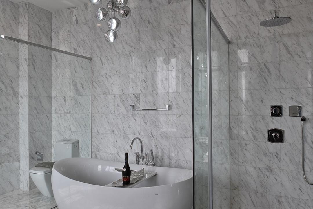 Nanhu Golf Villa, EZRA Architects, Traditional, Bathroom, Landed, Marble Floor, Marble Flooring, Marble Tiles, Bathtub, Hanging Light, Pendant Light, Glass Door, Glass Shower Door, Toilet, Indoors, Interior Design, Room